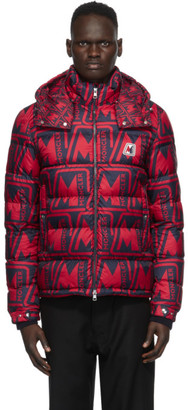 Moncler Red and Navy Down Frioland Jacket