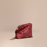 Burberry Large Zip-top Python-print Technical Nylon Pouch, Red