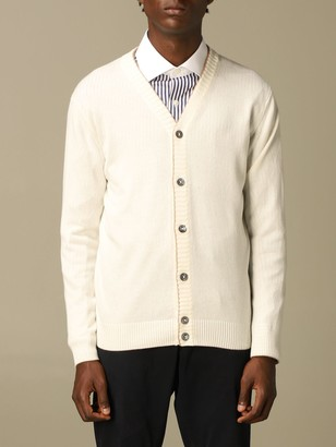 Eleventy Platinum Cardigan In Wool With Contrasts