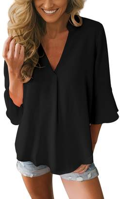 ROSKIKI Womens 3/4 Sleeve Deep V Neck Elegant Chiffon Blouses for Work Casual Fashion Loose Shirts Cute Tops Black S