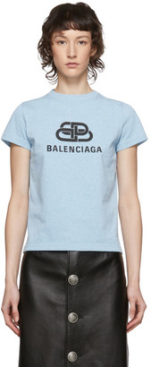 Balenciaga Blue Logo Fitted T-Shirt