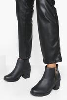 boohoo Wide Fit Zip Side Chunky Heel Chelsea Boots