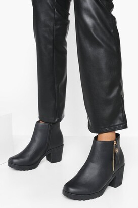 boohoo Wide Fit Zip Side Chunky Heel Chelsea Boots