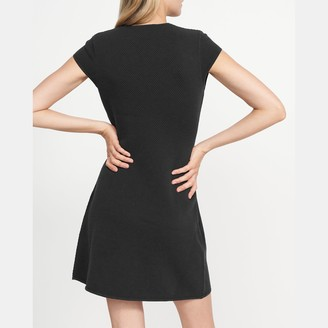 Theory Cap-Sleeve Flare Dress in Stretch Knit