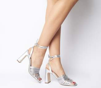 Office Macaroon Multi Strap Block Heels Silver