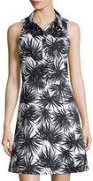 MICHAEL Michael Kors Sleeveless Palm-Print Shirt Dress, Black