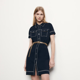 Sandro Knit dress with contrasting topstitching
