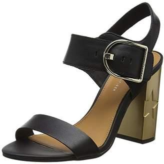 Tommy Hilfiger Women's Feminine Heel Oversized Buckle Ankle Strap Sandals, (Black 990)