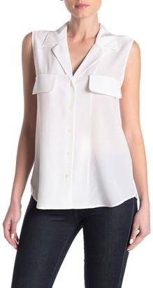Frame Front Button Silk Sleeveless Shirt