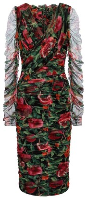 Dolce & Gabbana Exclusive to Mytheresa Pomegranate-printed cotton-blend midi dress
