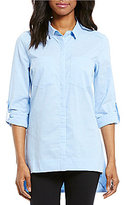 Gibson & Latimer Oxford Roll-Tab Sleeve Button-Front Tunic