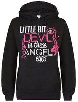Cute n' Country Women's Little Bit of Devil in These Angel Eyes Hoodie (L )