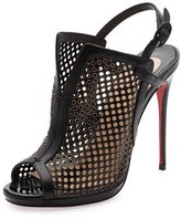 Christian Louboutin Escriminette Perforated 120mm Red Sole Bootie, Version Black