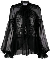 Givenchy sheer long-sleeve blouse