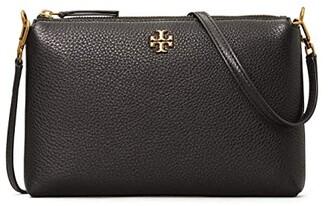 Tory Burch Kira Pebbled Wallet Crossbody (Black) Handbags