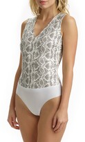Commando Snake Embossed Faux Leather Thong Bodysuit