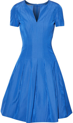 Oscar de la Renta Flared Pleated Cotton-blend Moire Dress