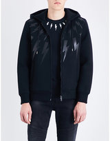 Neil Barrett Printed Exposed Zip Lightning Bolt-print Neoprene Hoody