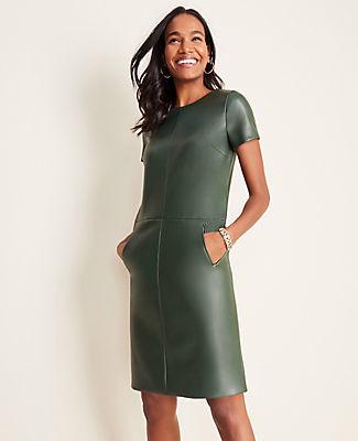 Ann Taylor Petite Faux Leather Pocket Shift Dress