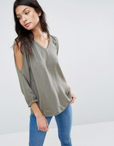 B.young 3/4 Sleeve V Neck Top With Lace Detail