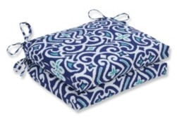 Pillow Perfect New Damask Marine Squared Corners Seat Cushion, Set of 2
