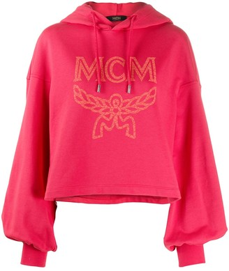 MCM Logo-Print Cropped Hoodie