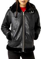 Warehouse Faux Leather Hooded Biker Jacket, Black