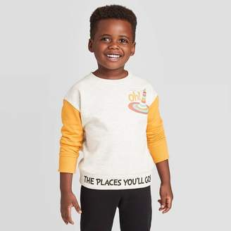 Dr. Seuss Toddler Boys' Oh The Places You'll Go Colorblock Sweatshirt - Heather Oatmeal