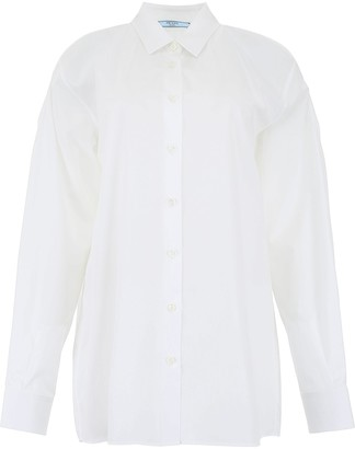 Prada Cut-Out Shoulders Pearl Buttoned Shirt