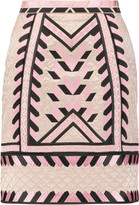Temperley London Anfisa embroidered quilted silk mini skirt