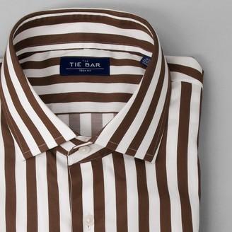 Tie Bar Bungalow Stripe Brown Dress Shirt