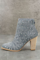 Matisse Springfield Dusty Blue Embroidered Suede Leather Booties