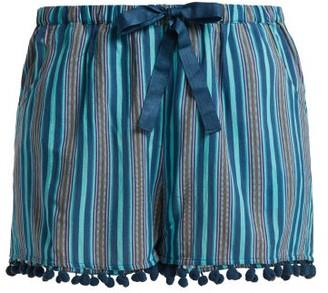 Figue Maja Striped Pompom Hem Shorts - Womens - Blue Stripe