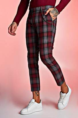 boohoo Tartan Cropped Trouser With Chain Detail