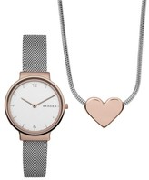 Skagen Women's Ancher Leather Strap Watch & Necklace Set, 34Mm