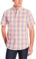 Izod Men's Short Sleeve Seaport Poplin Windowpane Plaid Shirt