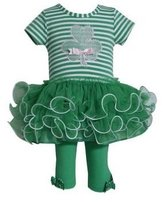 Bonnie Jean Baby 12m-24m Striped Shamrock Clover Tutu Dress/legging Set