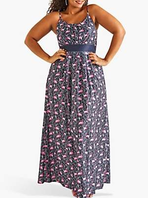 Yumi Curves Flamingo Print Maxi Jersey Dress, Blue Multi