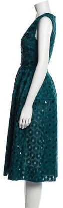 Nicholas Lace Pattern Midi Length Dress Blue