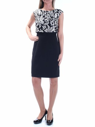 Tahari Womens Black Jewel Neck Above The Knee Blouson Evening Dress Size: 2XS
