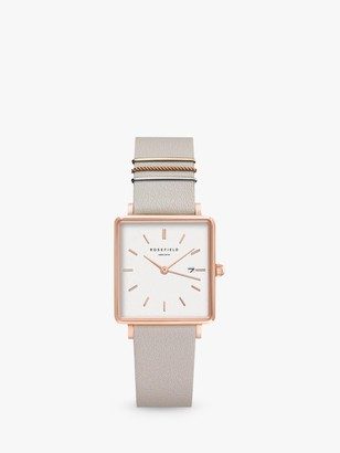 ROSEFIELD QCGRG-Q028 Women's The Boxy Date Leather Strap Watch, Grey/White