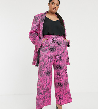 Asos DESIGN curve pink animal wide leg suit pants-Multi