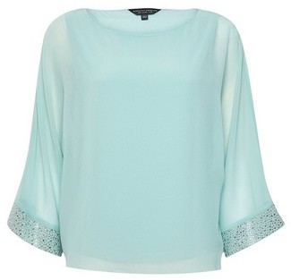 Dorothy Perkins Womens Blue Embellished Cuff Batwing Sleeve Top, Blue