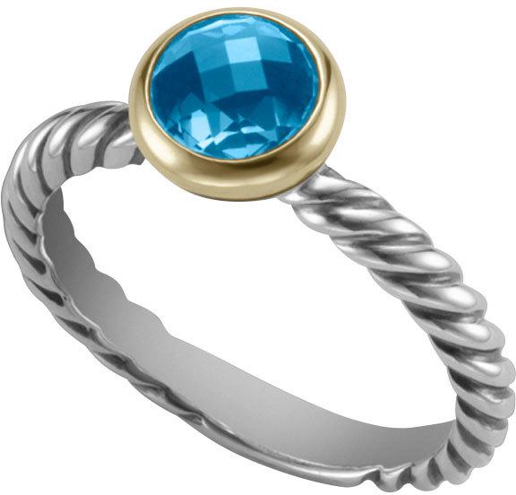 David Yurman Color Classics Ring with Hampton Blue Topaz and Gold