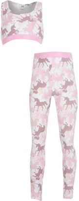 River Island Girls Pink unicorn print crop top set