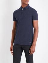 BOSS ORANGE Geometric-pattern cotton piqué polo shirt