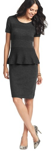LOFT Tall Striped Merino Wool Blend Peplum Sweater Dress