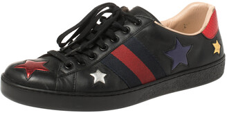 Gucci Black Leather Ace Metallic Stars Low Top Sneakers Size 43