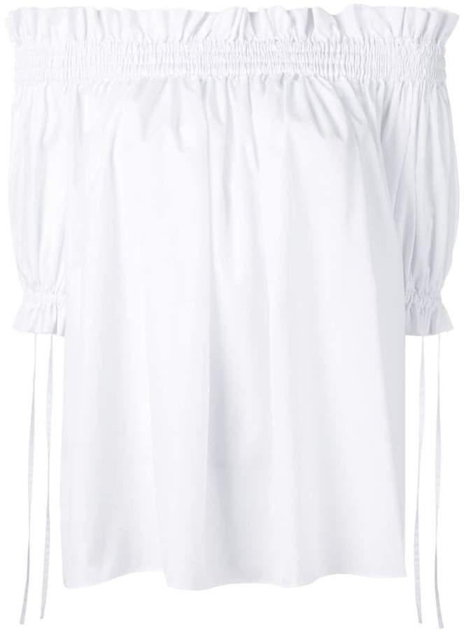 Alexander McQueen off-the-shoulder smocked blouse