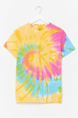 Nasty Gal Womens Good Vibes Tie Dye Relaxed Tee - Yellow